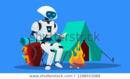 Robot Reading A Book Near Fireplace Vector. Isolated Illustration Stock photo © pikepicture