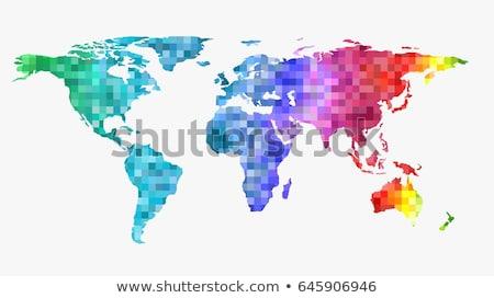 Dünya haritası gökkuşağı piksel sanat örnek Stok fotoğraf © lenm