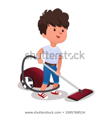 Little Boy With Vacuum Cleaner Helps To Do House Cleaning Vector. Isolated Illustration Stock photo © pikepicture