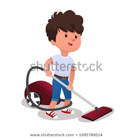 Kicsi fiú porszívó ház takarítás vektor Stock fotó © pikepicture