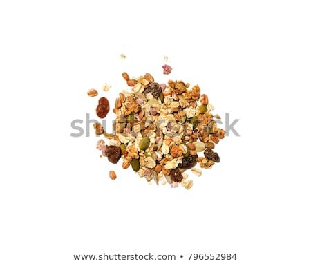 granola · yalıtılmış · beyaz · üst · görmek - stok fotoğraf © xamtiw