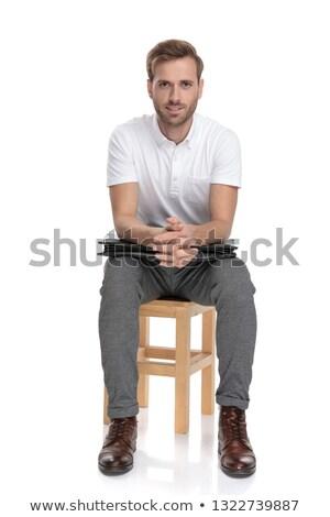 Casuale imprenditore riposo sedia valigetta giovani Foto d'archivio © feedough