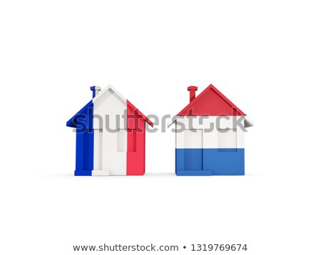 Deux maisons drapeaux France Pays-Bas isolé Photo stock © MikhailMishchenko