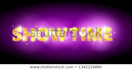 Show time bulb letters advertisement vector illustration. Colorful purple shining background. Stock photo © MarySan