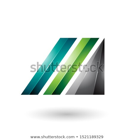 light and dark green letter m of glossy diagonal bars stock photo © cidepix