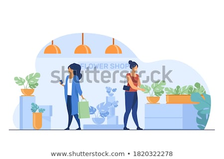 Flower shop - modern vector cartoon people characters illustration Stock photo © Decorwithme