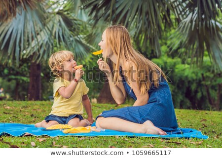 Mom and son had a picnic in the park. Eat healthy fruits - mango, pineapple and melon. Children eat  stock photo © galitskaya