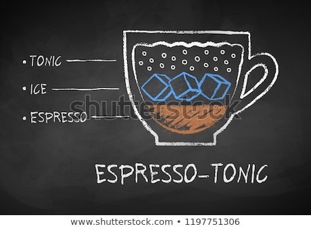 kahve · menü · kara · tahta · ayarlamak · içecekler - stok fotoğraf © sonya_illustrations