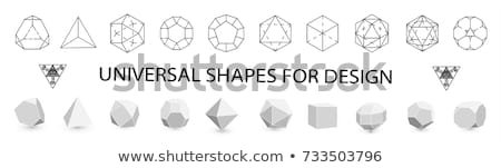 Black and Blue 3d Pyramid Icon Vector Illustration Stock photo © cidepix