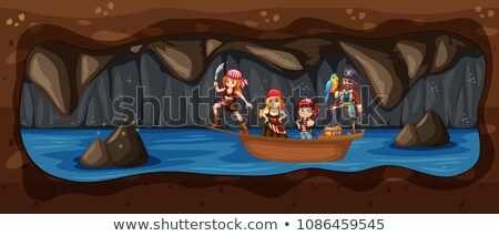 Pirackich łodzi podziemnych jaskini rzeki ilustracja Zdjęcia stock © colematt