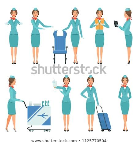 lány · utaskíserő · egyenruha · üzlet · arc · háttér - stock fotó © netkov1
