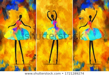 A set of ballet girl with different graphic design Stock photo © colematt