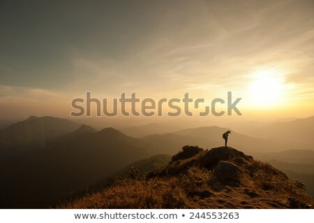 Beautiful young woman with backpack is sitting on the hill Stock photo © denbelitsky