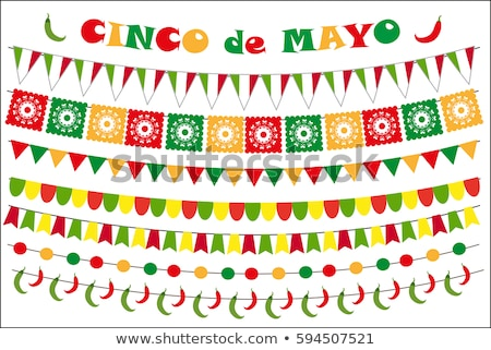 Cinco de Mayo paper flag card for mexico holiday Stock photo © cienpies