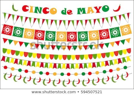 Papier vlag kaart Mexico vakantie Stockfoto © cienpies