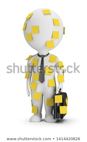 3d small people   stick notes stock photo © anatolym