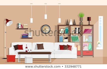 スタイリッシュ · リビングルーム · 暖炉 · ソファ · カップル · 現代 - ストックフォト © jossdiim