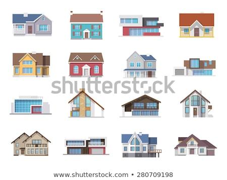 Szett különböző ház épület illusztráció fa Stock fotó © colematt