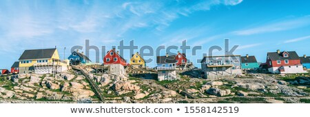 greenland view of ilulissat city and icefjord tourist destination in the actic stock photo © maridav