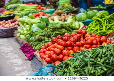Friss zöldségek ázsiai piac hagyományos konzerv használt Stock fotó © vapi