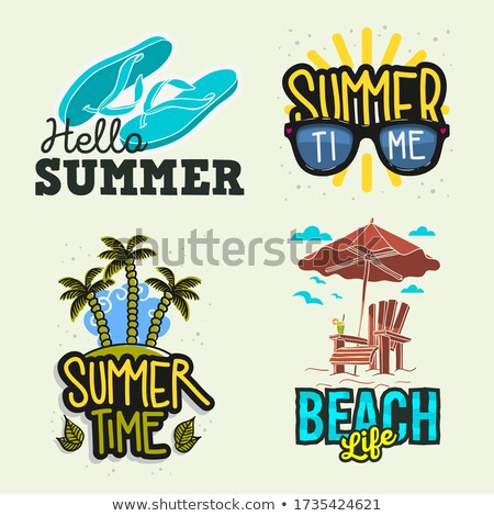 vector summer party flyer design with colorful flip flop and tropical island on ocean blue backgroun stock photo © articular