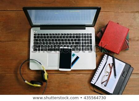 Kredi kartı gözlük ahşap masa defter klavye iş Stok fotoğraf © stoonn