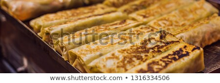 Stuffed wrapped, street food from Wangfujing street at Beijing, China BANNER, LONG FORMAT Stock photo © galitskaya