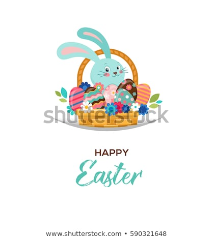 happy easter greeting card bunny in basket with flowers and eggs poster bunner illustration stock photo © marish