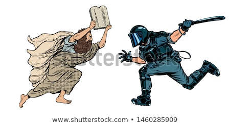 discrimination Christians and religion. riot police with a baton Stock photo © studiostoks