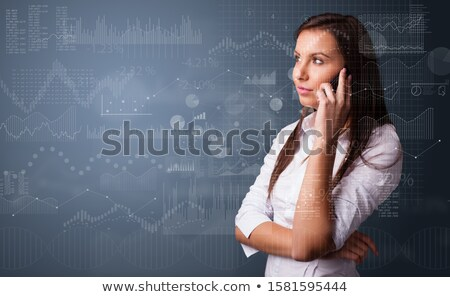 Person talking on the phone with chart and report in the foreground Stock photo © ra2studio