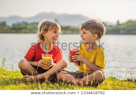 boy drink healthy smoothies against the backdrop of palm trees mango smoothies healthy nutrition a stock photo © galitskaya