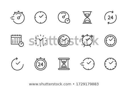 Сток-фото: Clock Linear Icon Vector Illustration Isolated On White Background