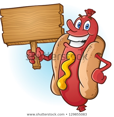 Sausage Cartoon Character Holding A Banner.  Stock photo © hittoon