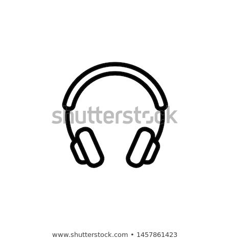 ストックフォト: ヘッドホン · アイコン · コンピュータ · 音楽 · デザイン · マイク