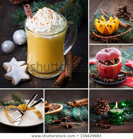 Food collage. Christmas drinks and sweets Stock photo © furmanphoto