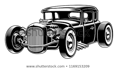 Foto stock: Cartoon Retro Hot Rod Isolated Black And White