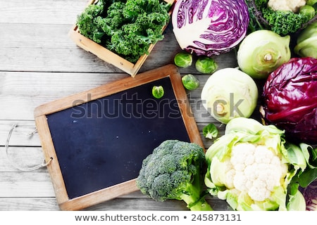 Different cauliflower sorts with copyspace on slate. stock photo © lichtmeister