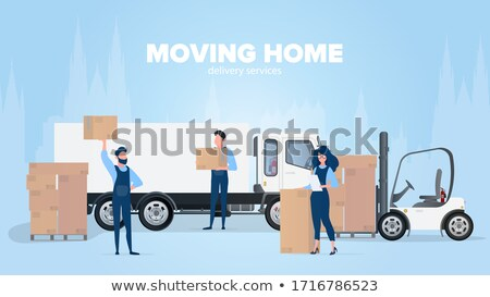 Delivery Men Transporting Cardboard Boxes Vector Stock photo © robuart