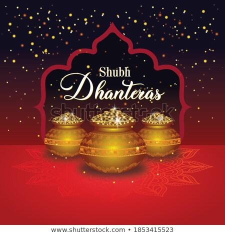 shiny red happy dhanteras decorative background design Stock photo © SArts