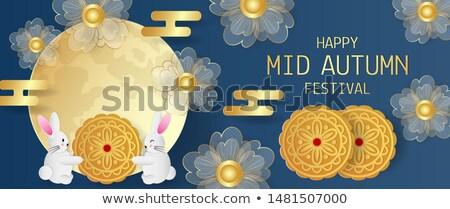 Mid autumn banner cute paper flower gold rabbit Stock photo © cienpies