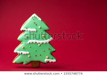 ジンジャーブレッド クリスマスツリー 自家製 装飾された 白 木製 ストックフォト © Alex9500