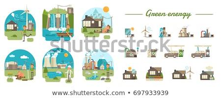 Scène huizen zonne-energie illustratie water huis Stockfoto © bluering