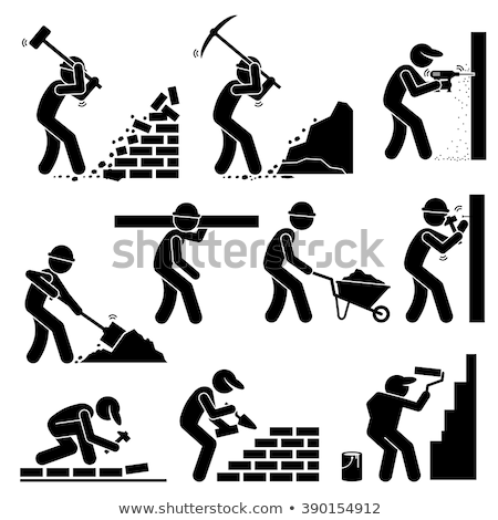 Workman Drilling Ground, Working Man at Job Vector Stock photo © robuart