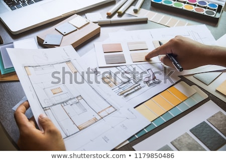 construção · ferramentas · diagrama · secretária · casa - foto stock © lunamarina