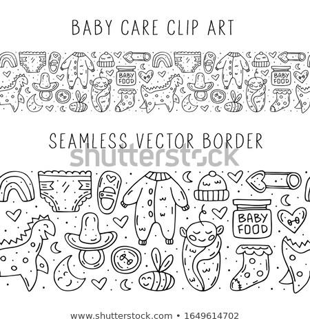 baby care stuff clothes toys cartoon cute hand drawn doodle vector seamless border stock photo © foxbiz