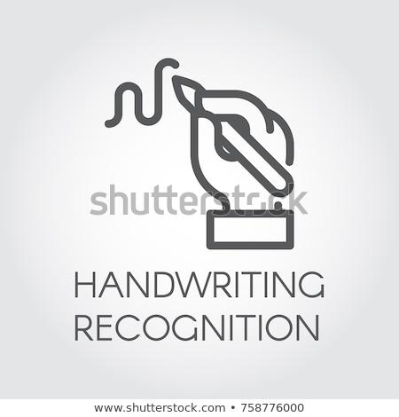 Emberi kézírás ikon vektor skicc illusztráció Stock fotó © pikepicture