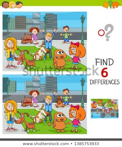 differences game with cartoon dogs group Stock photo © izakowski