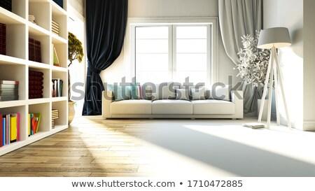 гостиной интерьер сиденье книжная полка реалистичный 3D Сток-фото © sedatseven