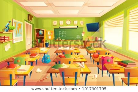 Karikatur math Lehrer Buch Klassenzimmer Tafel Stock foto © Voysla