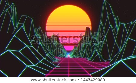 Green perspective grid, 3d dimension concept Stock photo © evgeny89